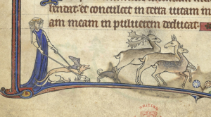 A lady with dogs from the Alphonso Psalter